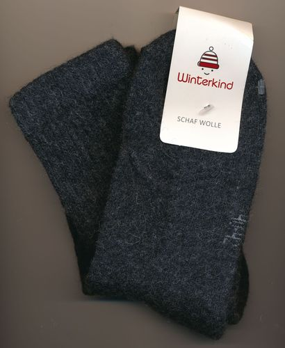 Winterkind: Wollsocken anthrazit