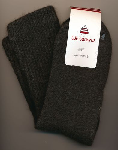 Winterkind: Yak Wollsocken, dunkelbraun '